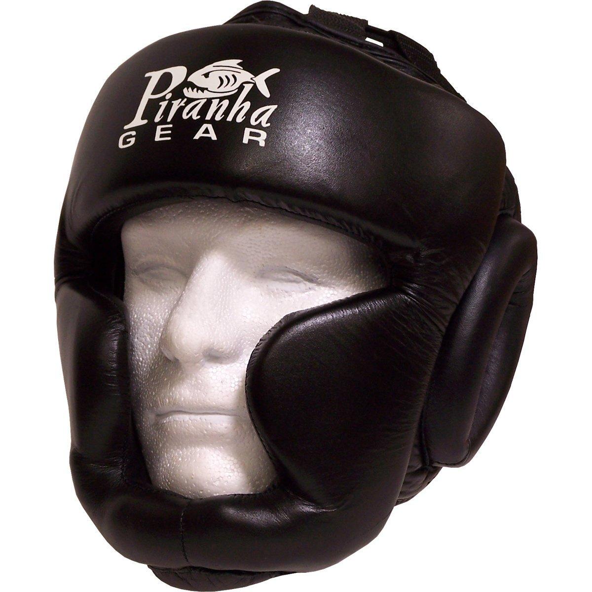 Piranha Gear Leather head guard w/ chin and cheek padding